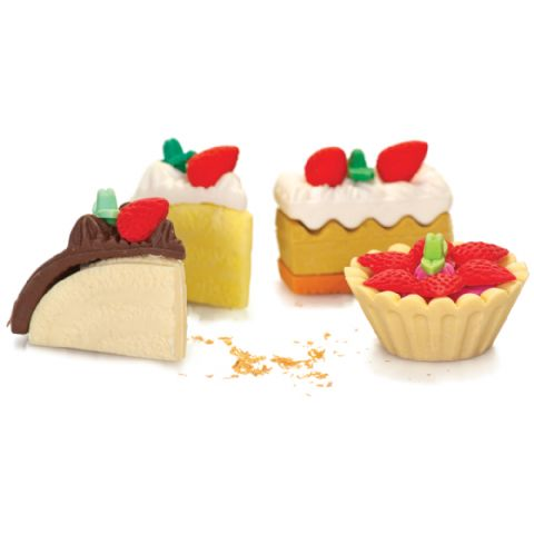 Patisserie Erasers - Novelty Food Rubbers (Cakes Custard Slice Tarts) Set of 4